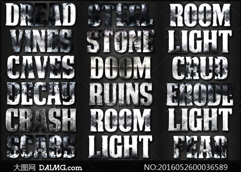 字电影主题字体颓废艺术字颓废字样式裂痕图案字体暗色艺术字岩石艺术