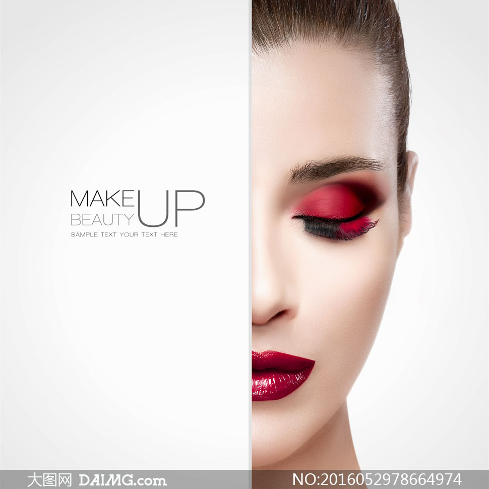 红色眼影妆容美女人物摄影高清图片