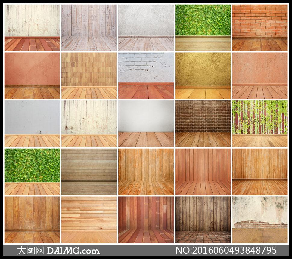 地板墙壁墙面木板墙颓废怀旧破旧斑驳剥落砖墙水泥墙