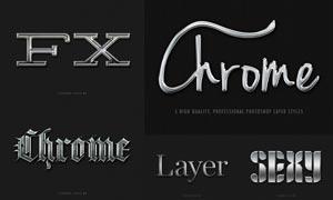 5款立体效果的银色艺术字PS样式