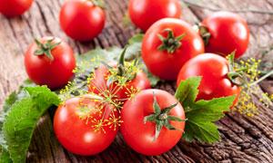 放在木板上的几个番茄特写高清图片