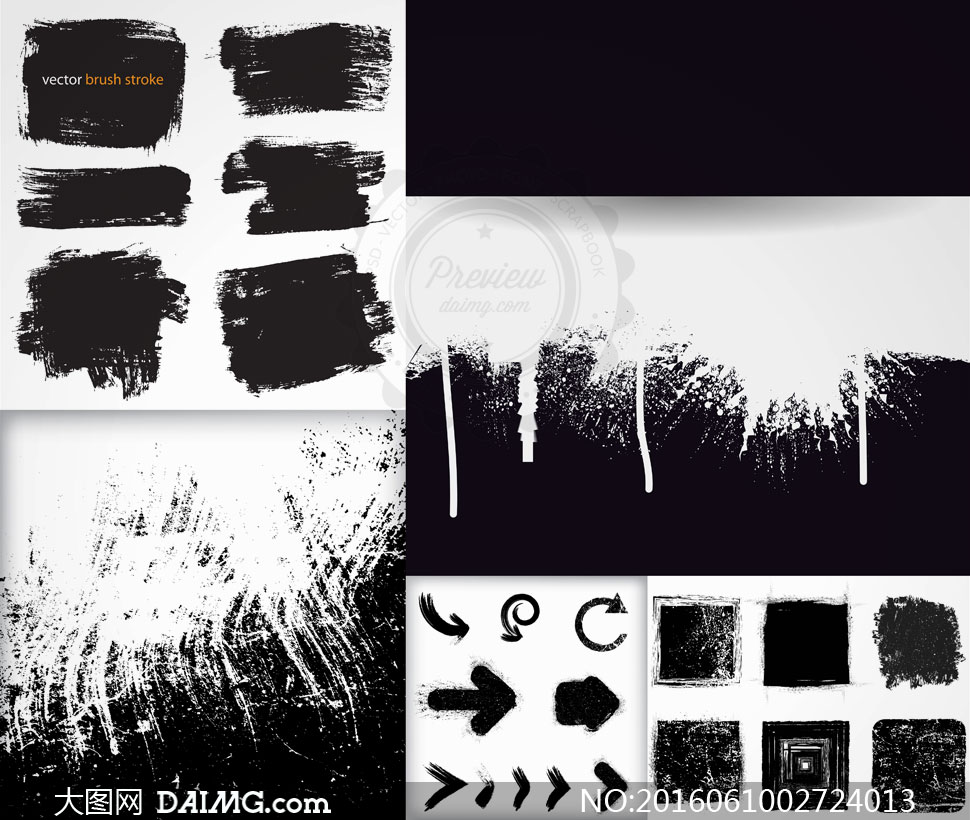 黑白箭头图案与蒙版边框等矢量素材