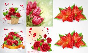 心形元素与逼真质感鲜花等矢量素材