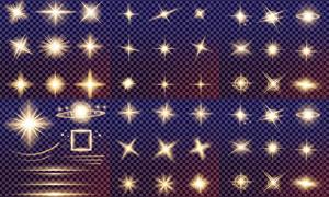 格子背景上的光效元素矢量素材集V1