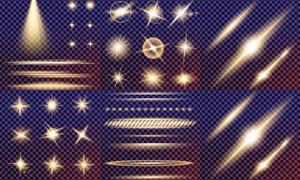 格子背景上的光效元素矢量素材集V2