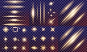格子背景上的光效元素矢量素材集V3