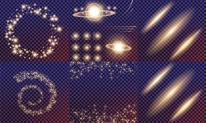 格子背景上的光效元素矢量素材集V4