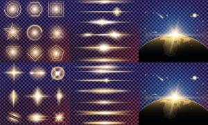 格子背景上的光效元素矢量素材集V5