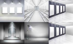 室内展览画廊空白画框等矢量素材V2