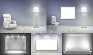 室内展览画廊空白画框等矢量素材V3