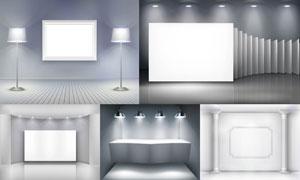 室内展览画廊空白画框等矢量素材V4