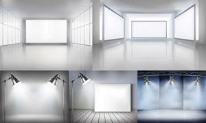 室内展览画廊空白画框等矢量素材V5