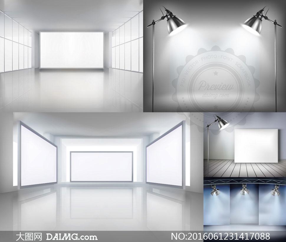 空白灯光射灯光线画框房间室内展览展厅画廊墙壁墙面落地灯木地板灯箱