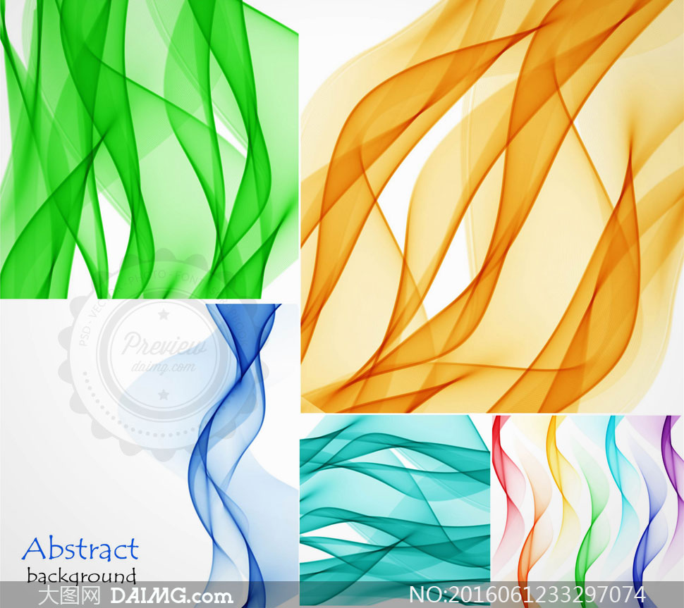 波形形态的曲线主题创意矢量素材v2图片