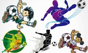 小男孩与踢足球的运动人物矢量素材