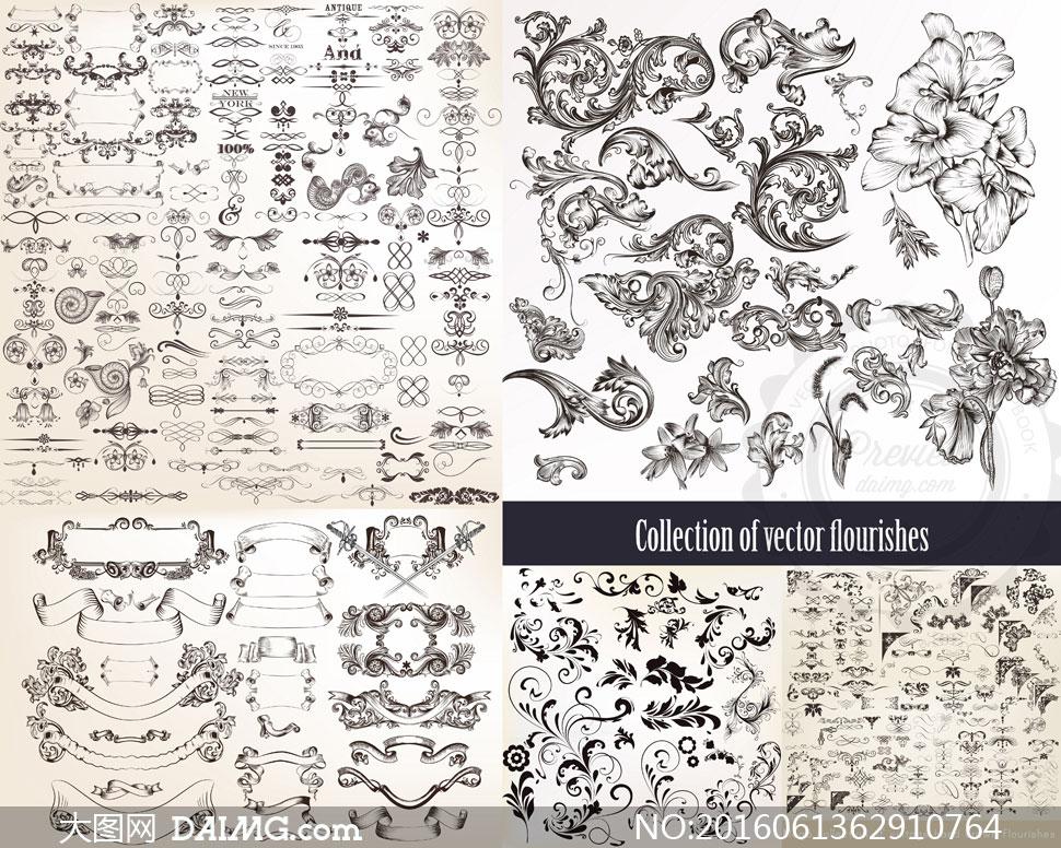 设计素材复古怀旧欧式古典花纹装饰边框花边图案分隔线分割线花朵飘带