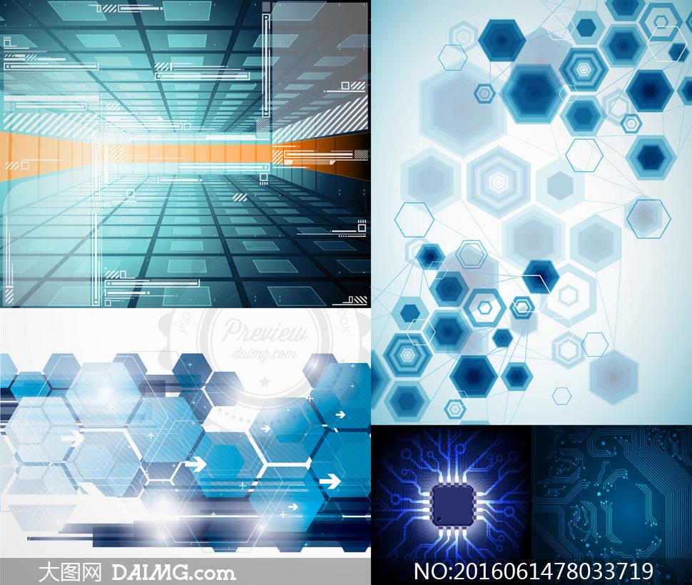 底纹背景 > 素材信息          光效装饰电子线路板纹理等矢量素材