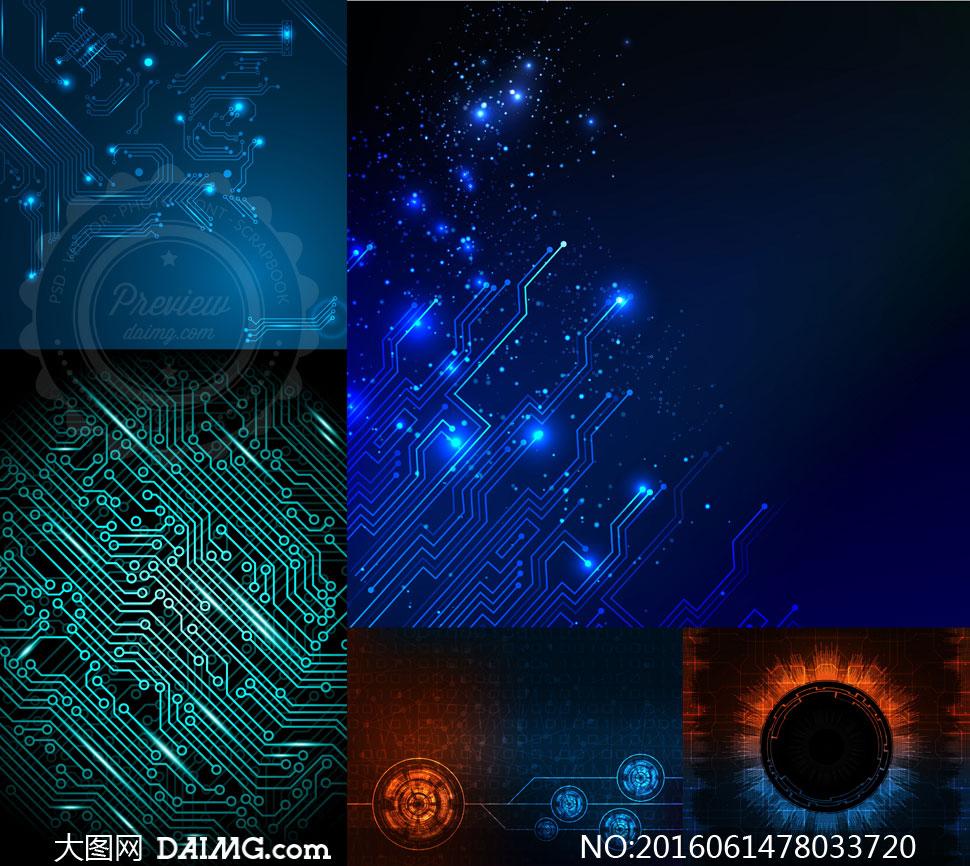 光效装饰电子线路板纹理等矢量素材