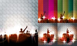 光效与派对人物剪影等创意矢量素材