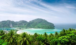 熱帶海岸美麗風景攝影圖片