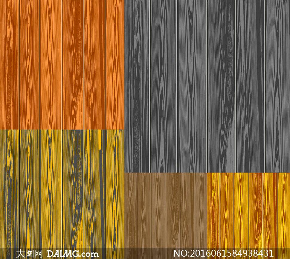 不同颜色的逼真木纹背景矢量素材v6