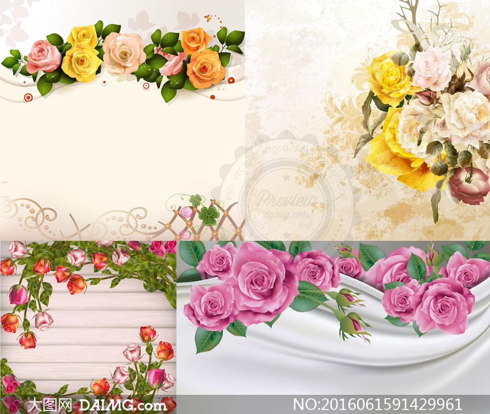 逼真质感效果玫瑰花朵主题矢量素材