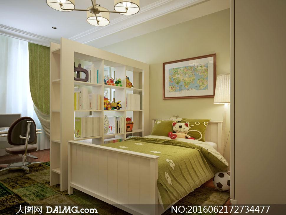 书房卧室内景布置陈设摄影高清图片
