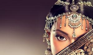 遮住一只眼的神秘美女摄影高清图片
