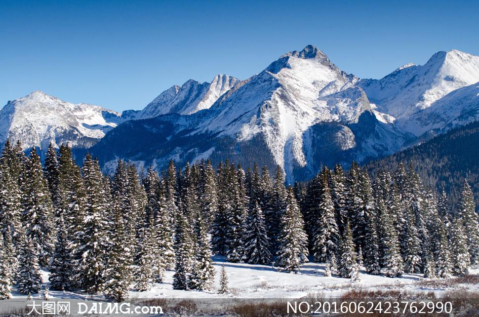 高清大图图片摄影素材自然风景风光景观天空雪山大山高山山峦山岭树木