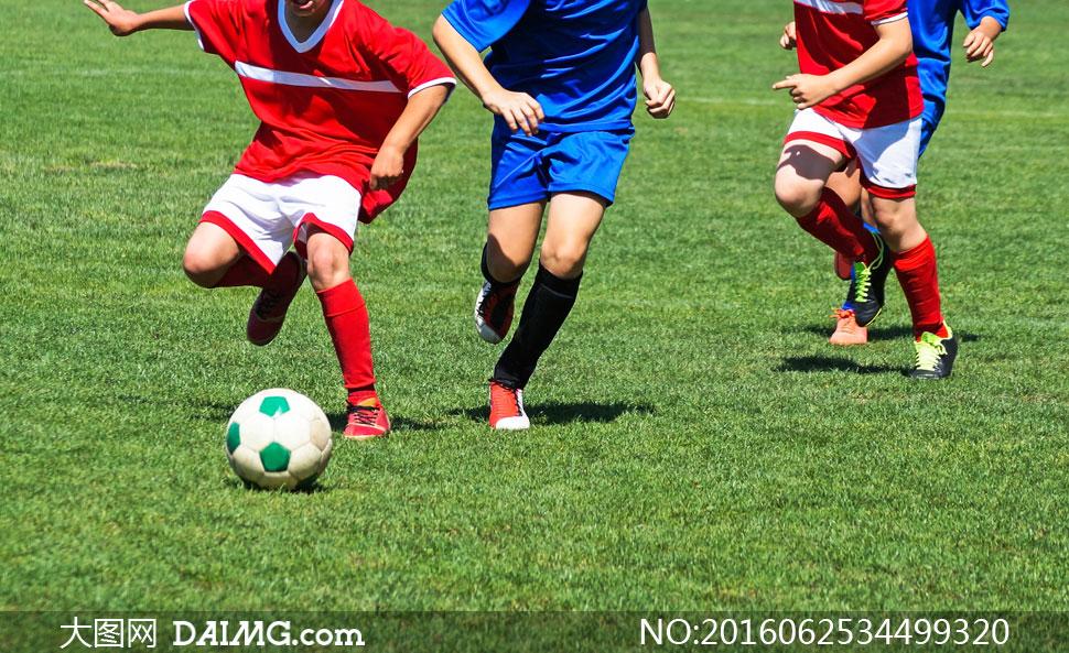 在绿茵场上踢足球的小学生高清图片 - 大图网设