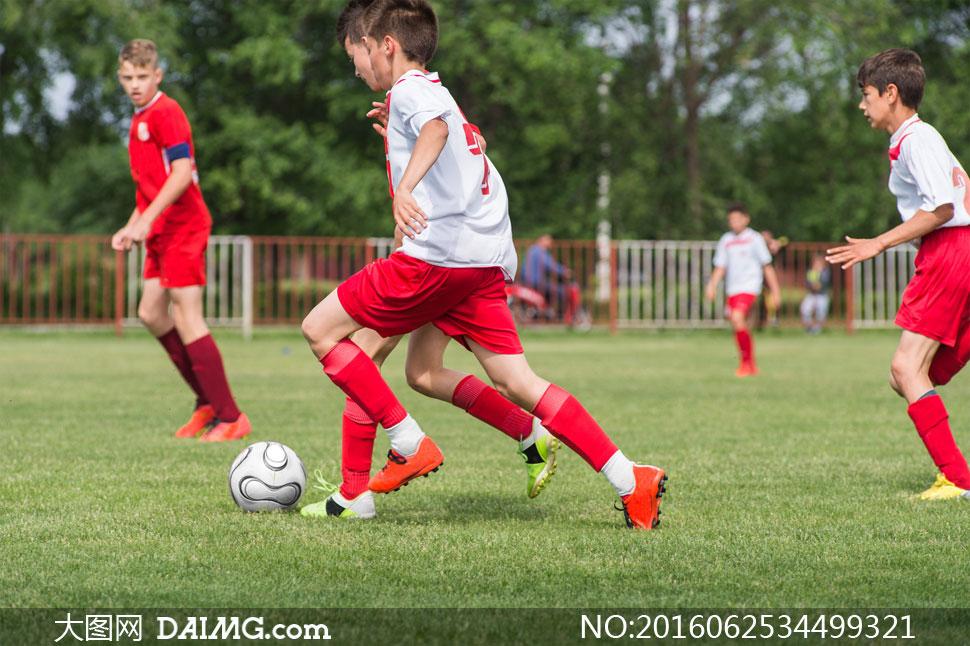 > 素材信息                          在绿茵场上踢足球的小学生高清