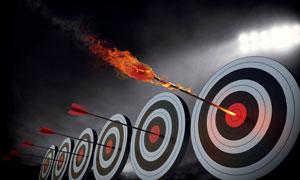 一字排开的箭靶子创意设计高清图片