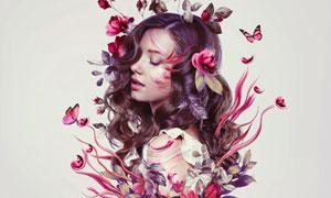 创意的花朵花卉人像PS教程素材