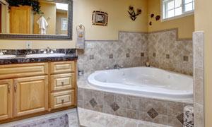 欧式豪华浴室内景效果摄影高清图片