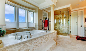 浴室浴缸与淋浴间内景摄影高清图片