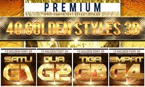 40款黄金质感的3D立体字PS样式