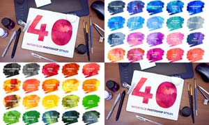40款炫彩水彩艺术效果PS样式