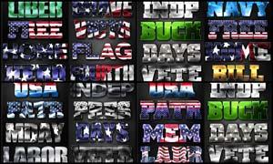 创意的国旗图案艺术字PS样式