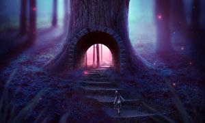 魔幻风格的森林城堡PS教程素材