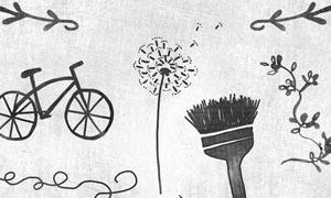 手绘自行车刷子和花纹藤蔓PS笔刷