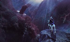 山谷中�t望城堡的骑士PS教程素材