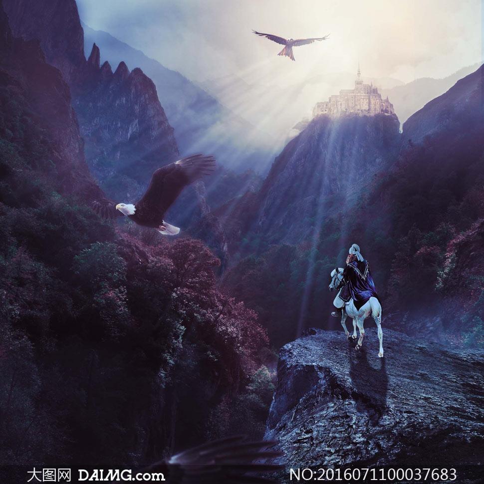 山谷中瞭望城堡的骑士ps教程素材