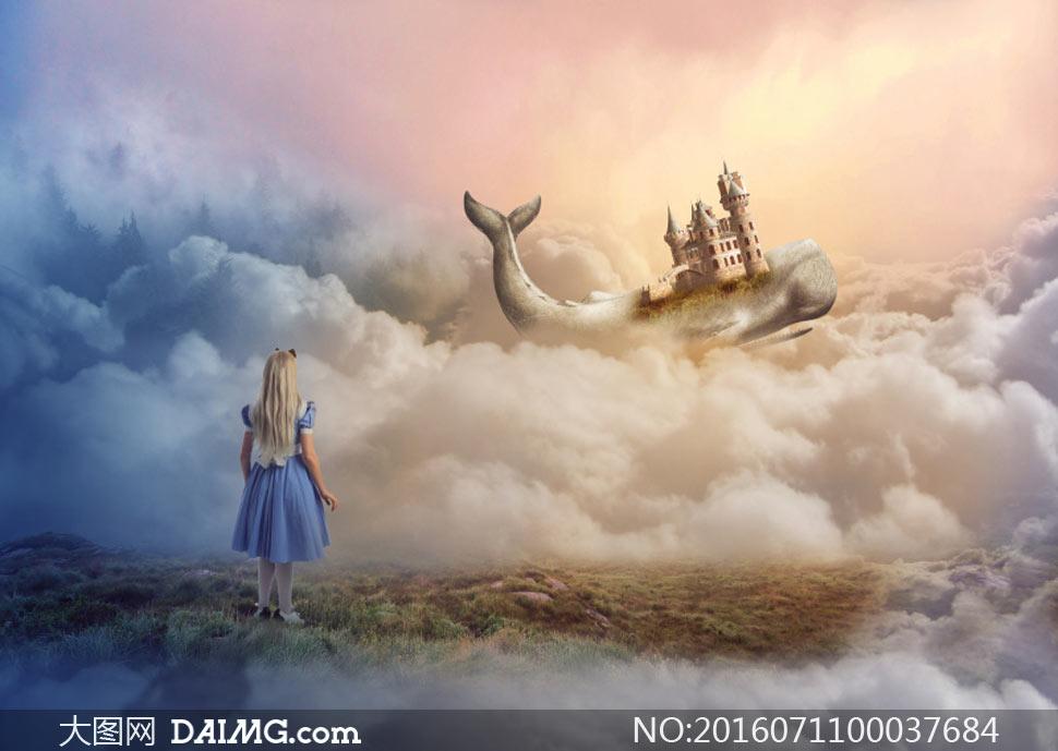 云端骑在鲸鱼上的飞行的城堡PS教程