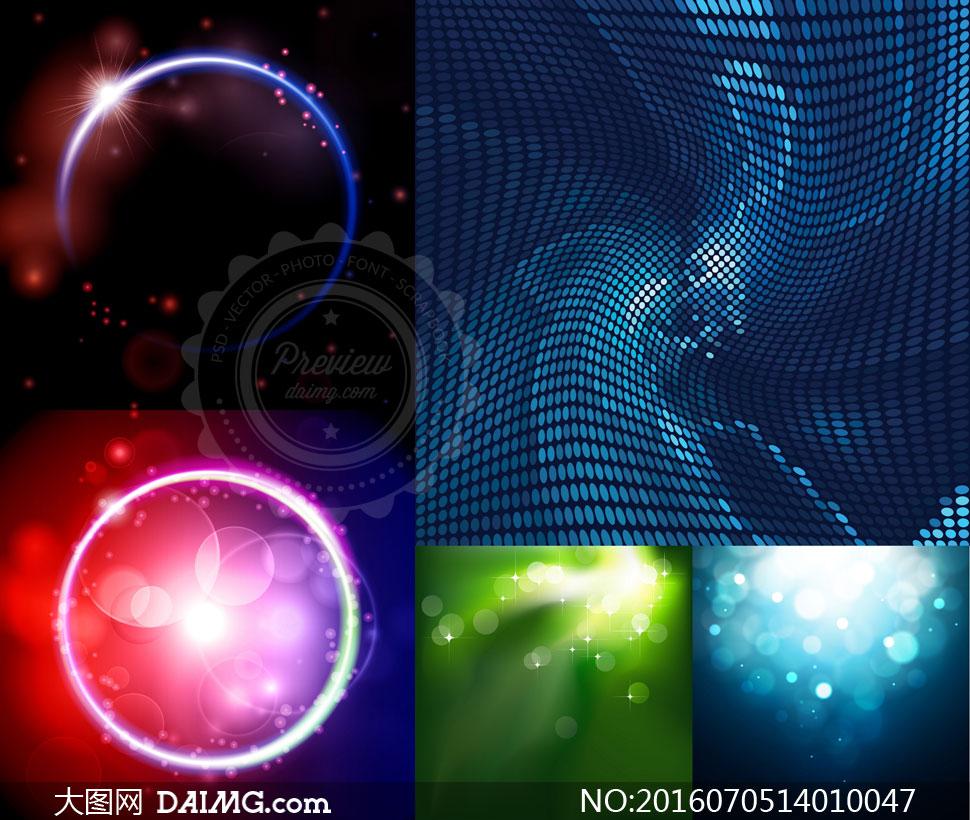 发光圆环与抽象元素等背景矢量素材