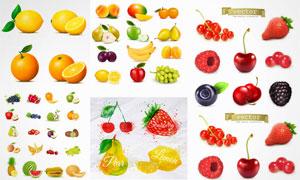逼真效果芒果与柠檬等水果矢量素材