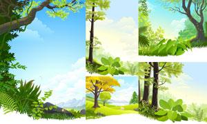蓝天白云大树自然风景设计矢量素材