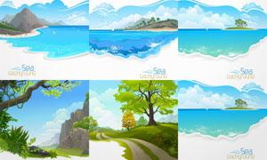 大树小路与碧海蓝天等风景矢量素材