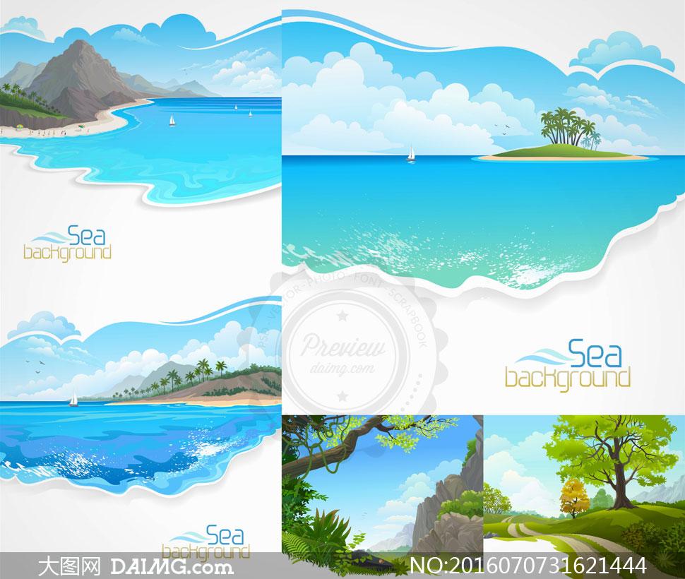 大树树木蓝天白云云彩云层多云天空椰树海面海上大海海景海边大山高山