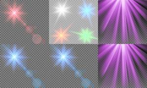 黑白格子上的炫丽灯光元素矢量素材