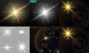 格子背景上的璀璨灯光主题矢量素材